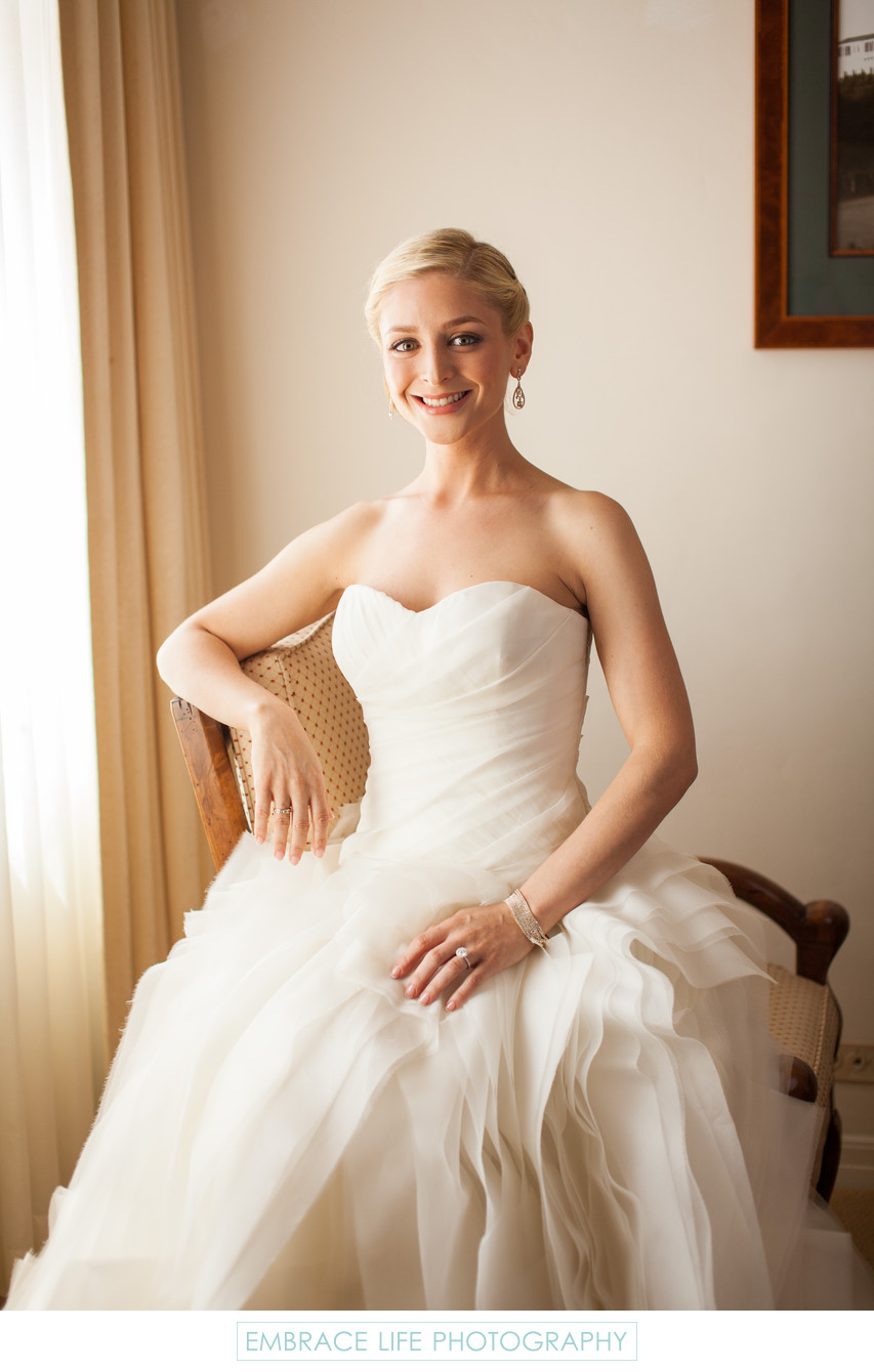 Smiling Bride in Her Ruffled Vera Wang Gown