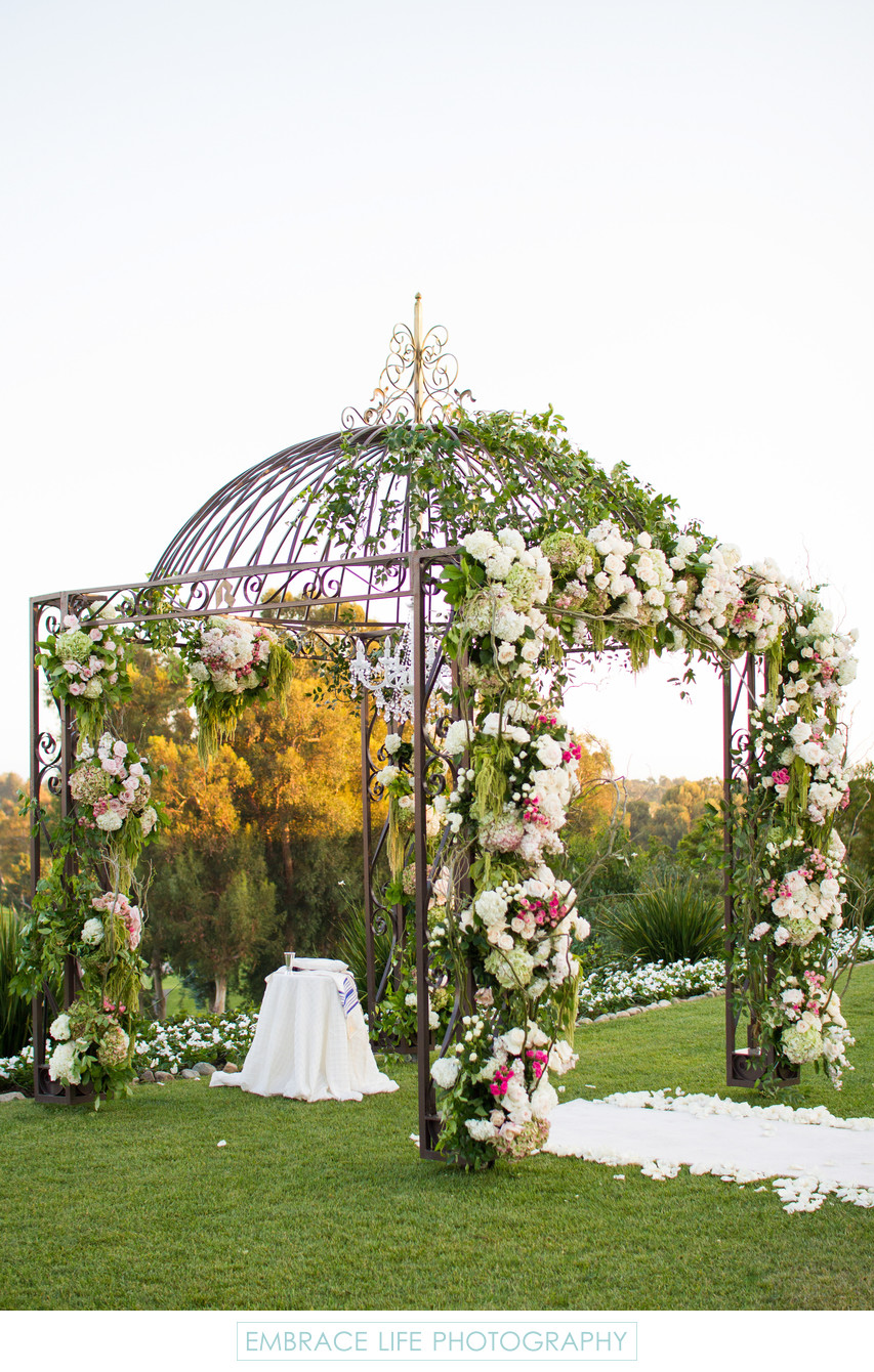 Elaborate Wrought-Iron Flower Covered Chuppah