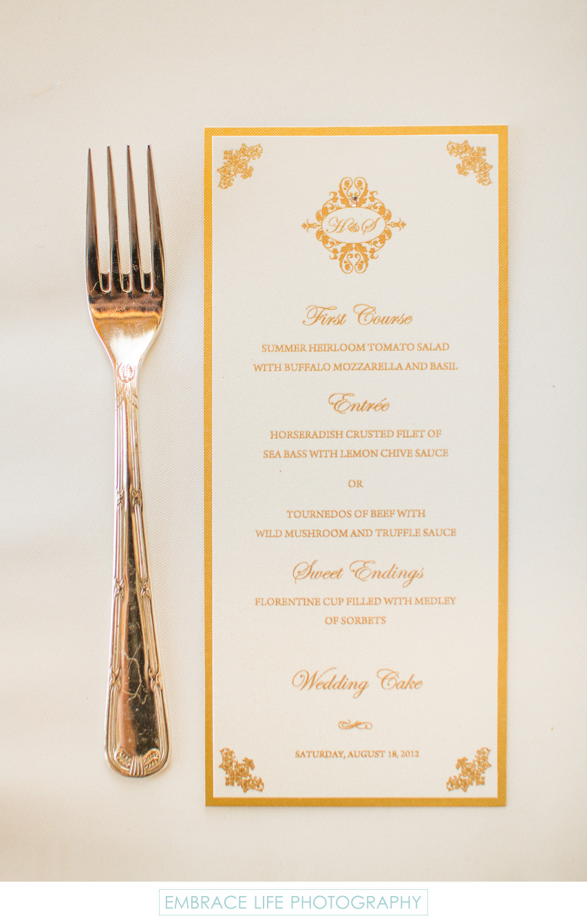 Gold Fork and Decorative Menu