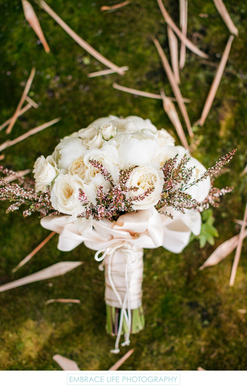 White Peony and Rose Bouquet With Calcynia
