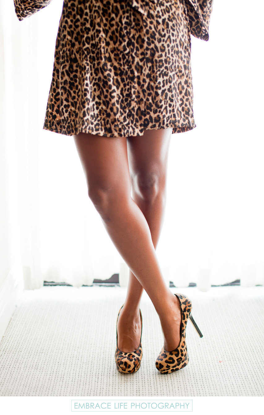 Leopard Print Bridesmaid Robe and High Heels
