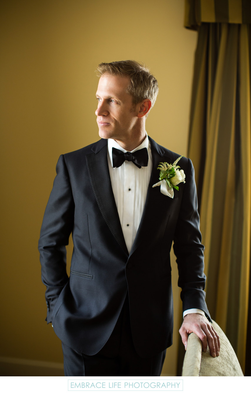 Beverly Wilshire Wedding Photograph of Handsome Groom