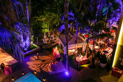 Outdoor Santa Monica Wedding Reception Lighting