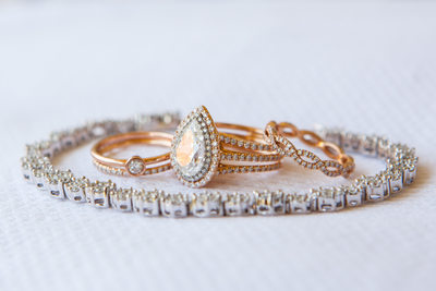 Pear Cut Diamond Engagement & Wedding Ring in Rose Gold