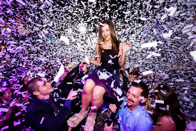 Confetti Cannons During Bat Mitzvah Horah Chair Dance