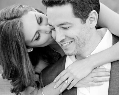 Black and White Beverly Hills Engagement Portrait