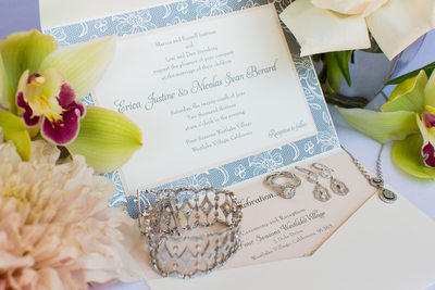 Blue Floral Wedding Invitation and Ring