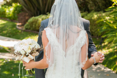 Back View of Simple Lace Wedding Veil