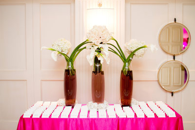 Hot Pink Wedding Reception Place Card Display Table