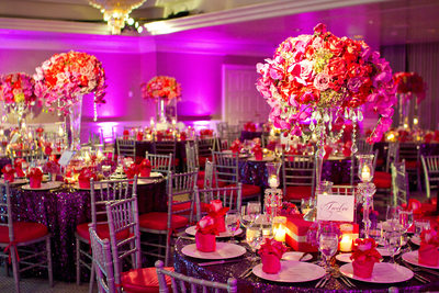 Pink and Purple Wedding Reception Decor