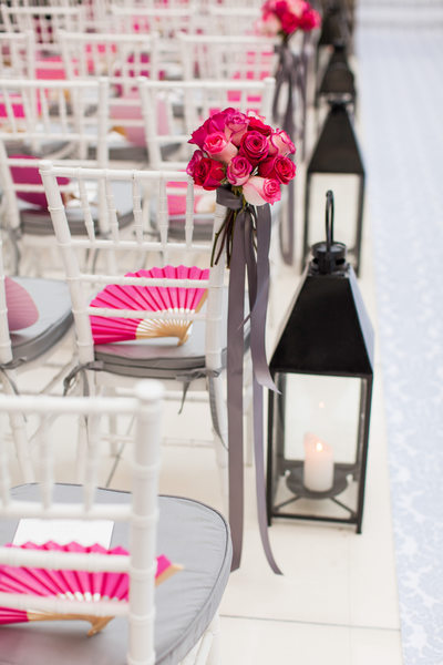 Lantern, Fuchsia Bouquet and Fan Along Aisle