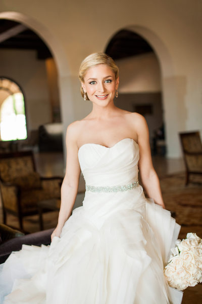 Bride in Vera Wang Gown With Rhinestone Trimmed Waist