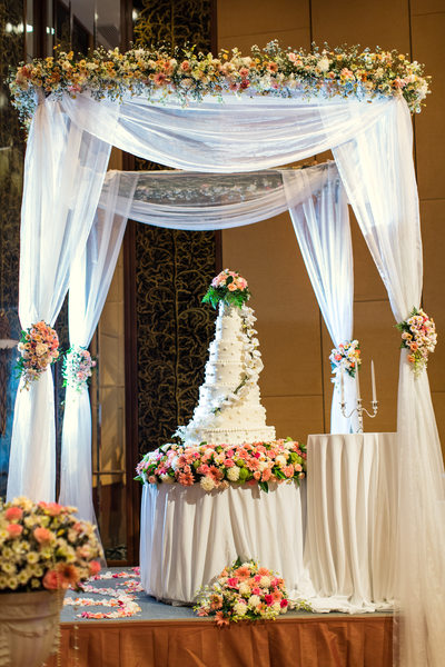 Flower Garland and Bouquets Decorate Canopy