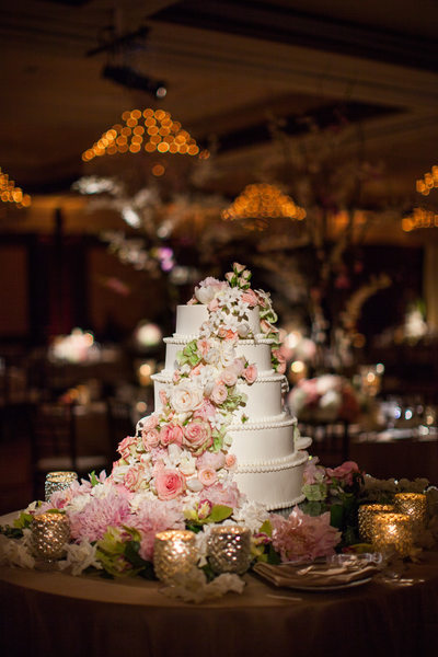 White Five-tiered Wedding Cake with Cascading Roses