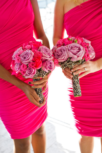 Pink Bridesmaid Dresses and Bouquets with Leopard Print