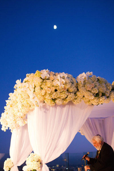 Moon Rises Above Wedding Ceremony Chuppah and Rabbi