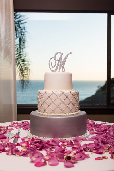 Silver and White Elegant Wedding Cake