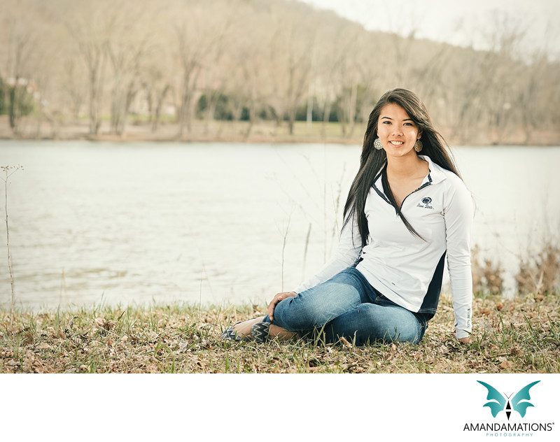 Senior Portrait by Lake in Pennsylvania