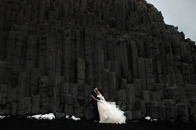 Black Sand Beach Wedding Portrait