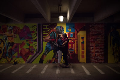 Leesburg Engagement Photo with Mural