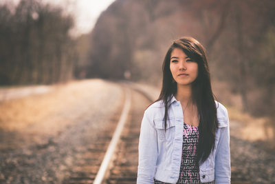 Senior picture on train tracks