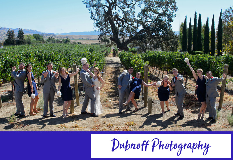 Livermore Wedding Party having fun out in the grape vineyard