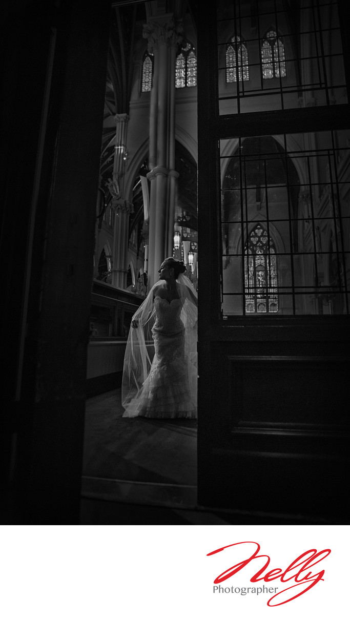 Stunning Bride at the Cathedral of Holy Cross Boston