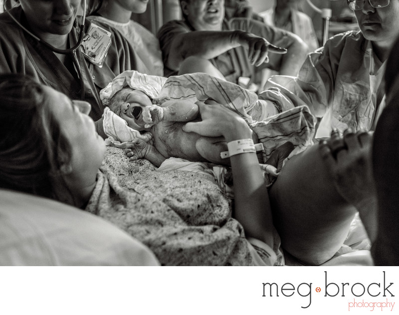 Black And White Image Best Birth Photography