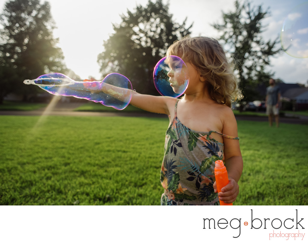 Family Documentary Photography Little Girl Bubbles