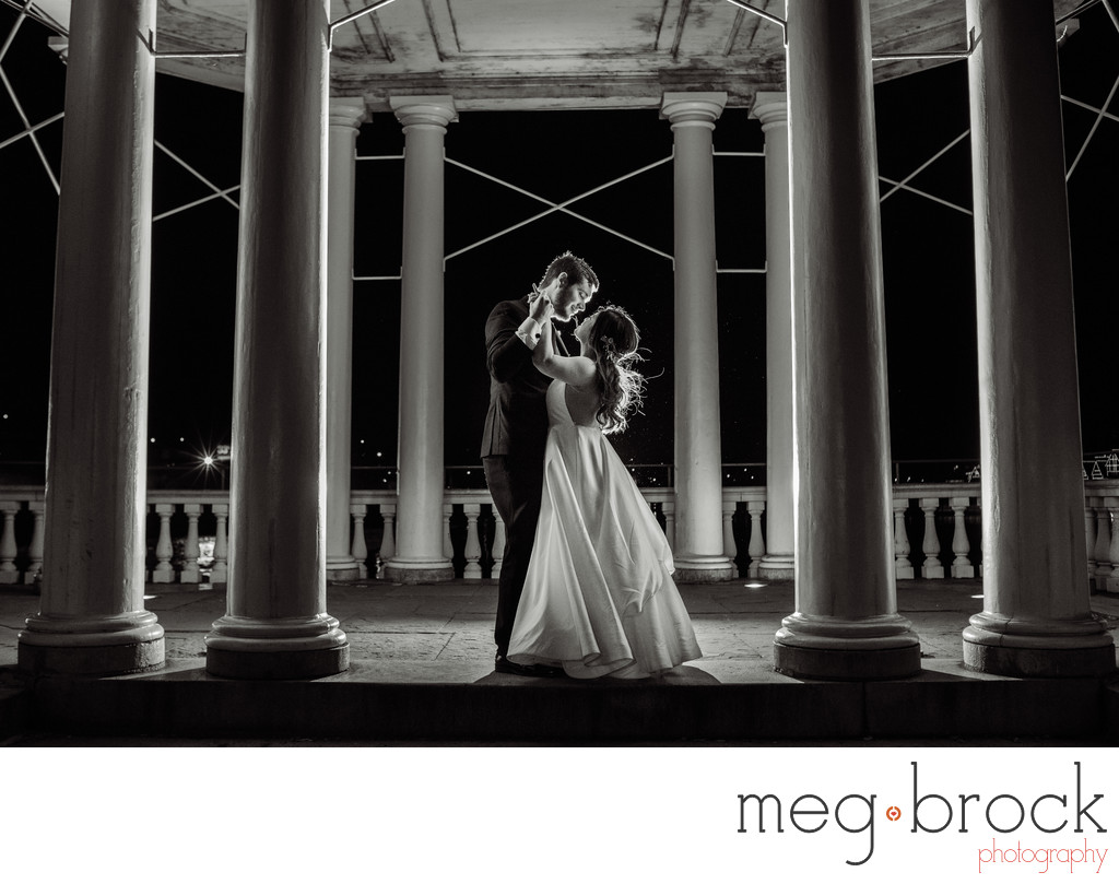 Creative Night Water Works Wedding Portrait