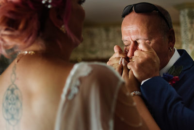 Emotional Dad and Bride Golden Plough Inn Wedding
