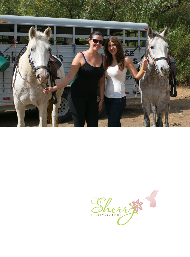 Sherri Johnson and Dr Lamees Khorshid horseback riding