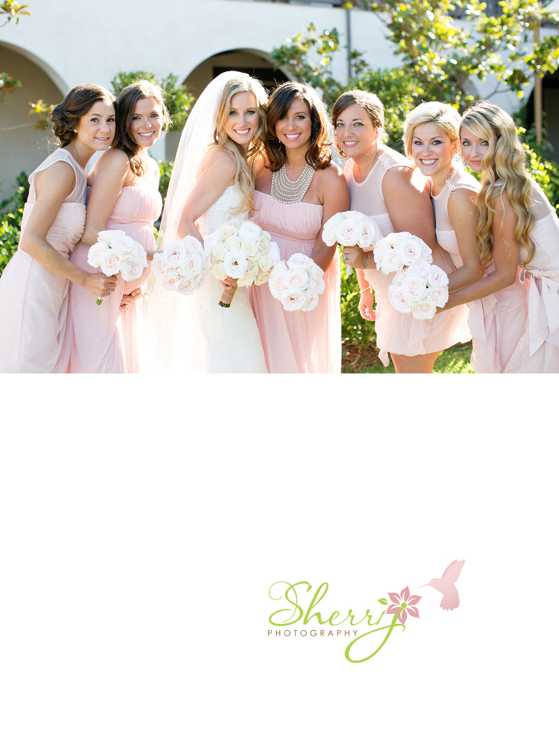 blush bridesmaids white flowers