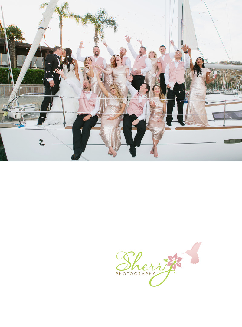 bridal party on a boat