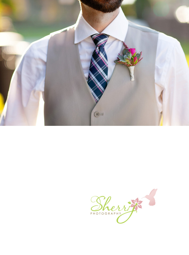 groom succulent boutonniere