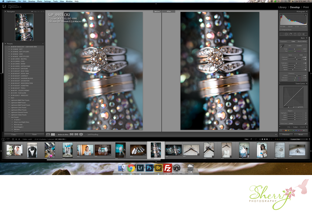 macro ring shot before and after lightroom retouch