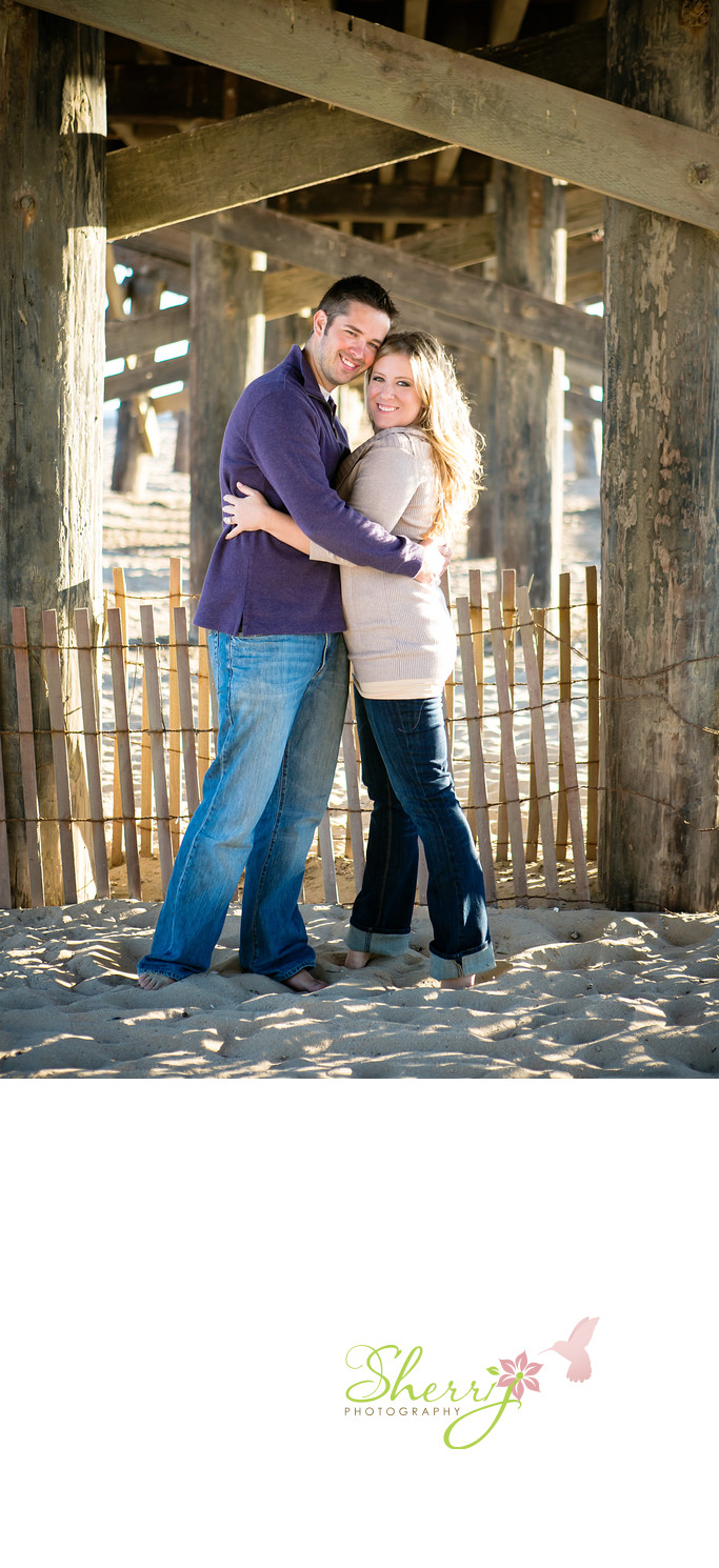 wooden seal beach pier sunset engagement location ideas