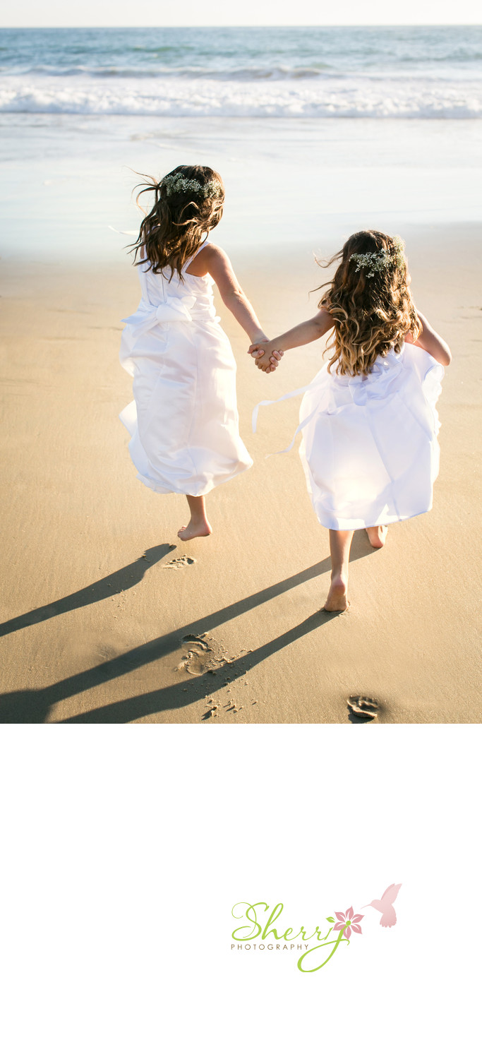 beach wedding flower girls