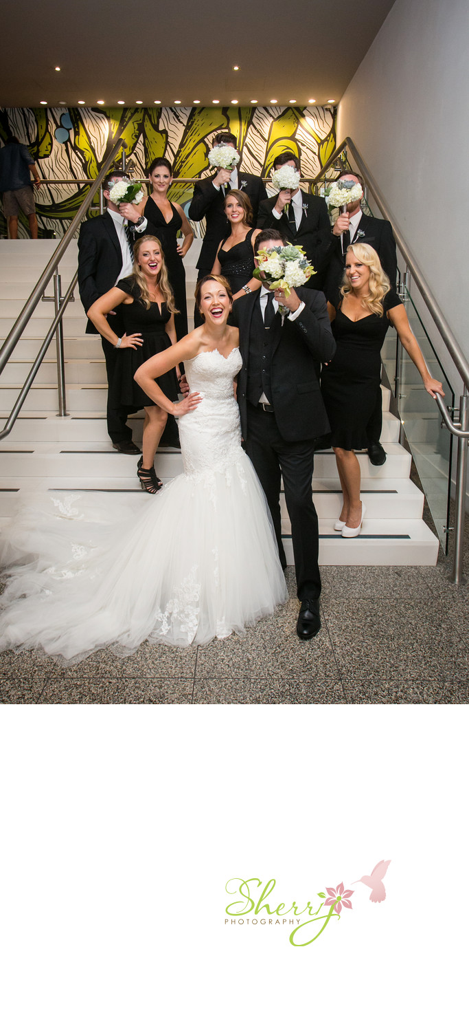 Fun BW Bridal Party Shorebreak Hotel