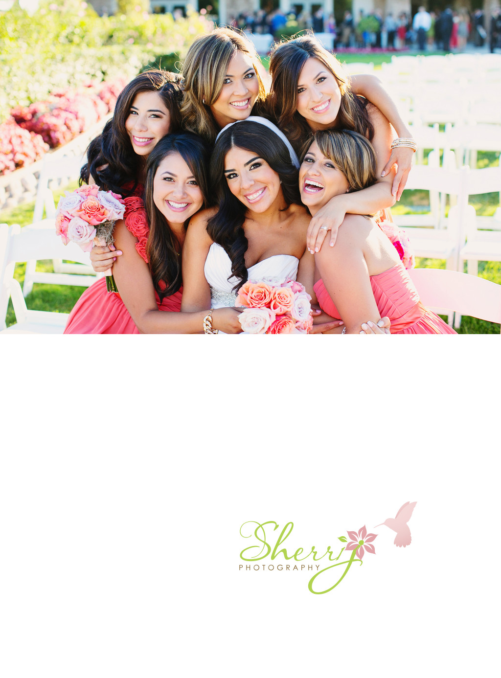 bride and bridesmaids in coral Moorpark Country Club