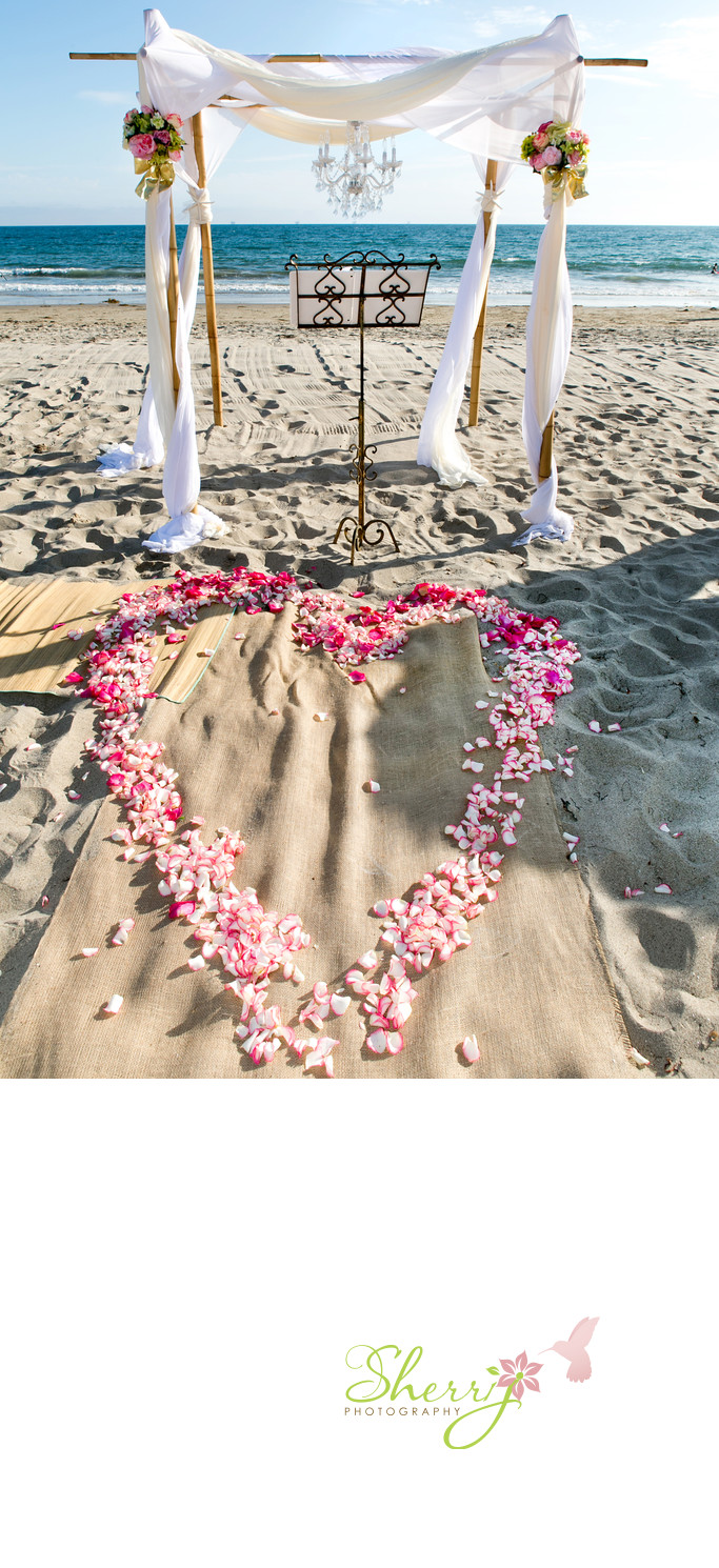 beach wedding heart petals