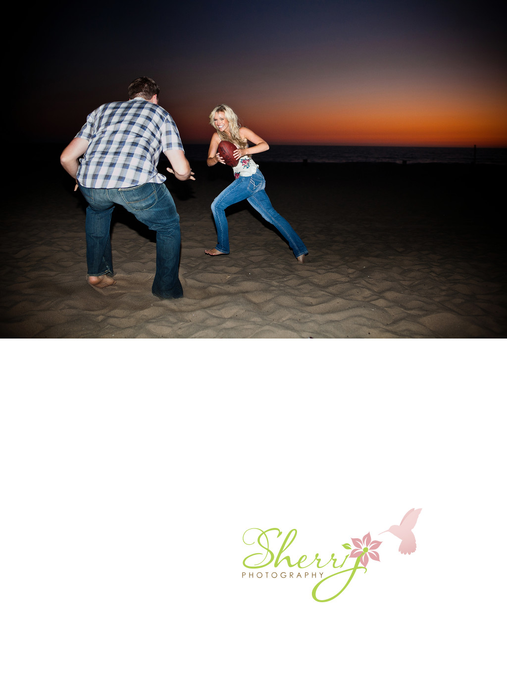Beach Football Sunset Engagement Venice CA