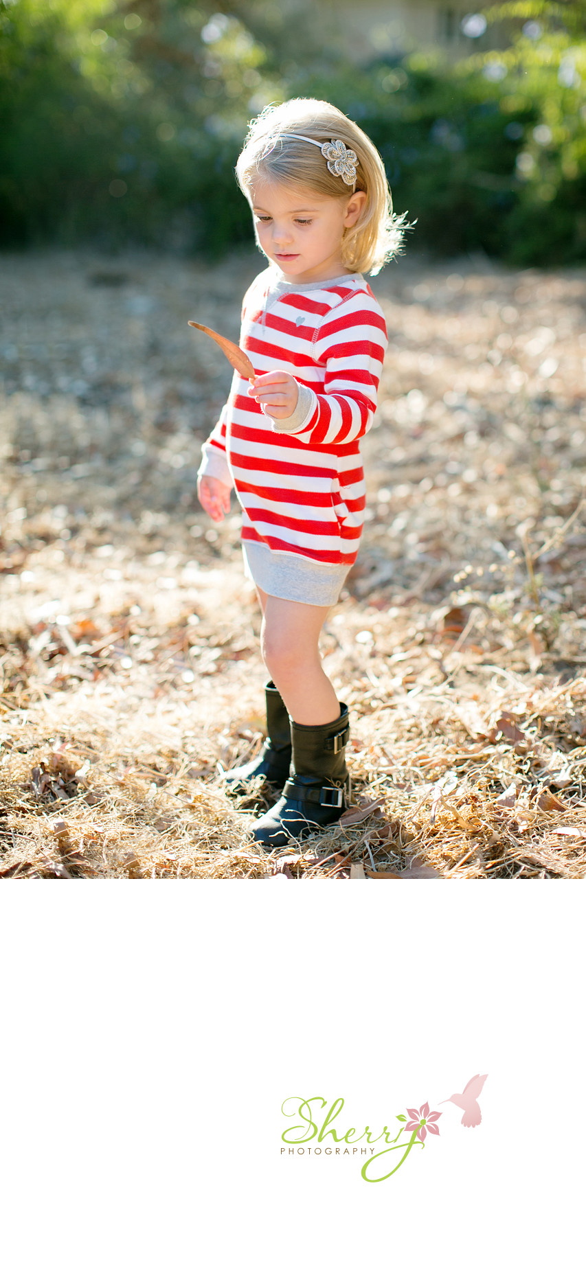 child portrait Palos Verdes red and white stripes