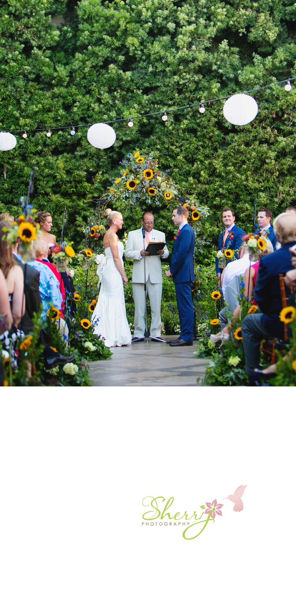 sunflowers wedding ceremony Mission San Juan Capistrano