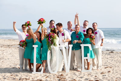 Fun Bridal Party Formal Portraits at Beach LOVE