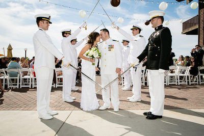 military wedding arch of sabers