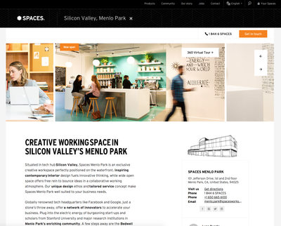Spaces Menlo Park refresh bar website