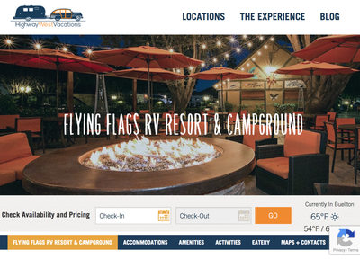 Flying Flags Campground welcome page website