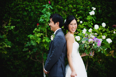bride and groom first look Altadena Town & Country Club