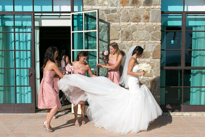 bride prep with bridesmaids
